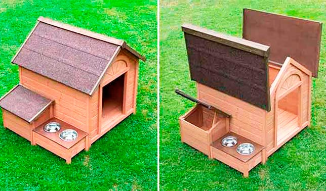 caseta para perro de madera con techo plegable